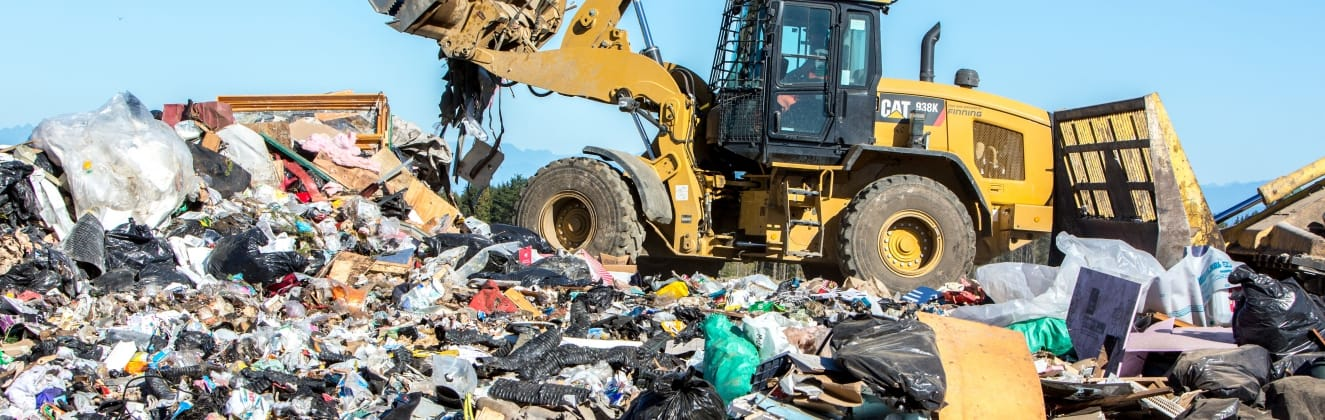 Garbage is compacted at the landfill in the Comox Valley